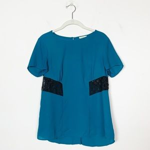 Anthropologie Sheer Button Back Top Meadow Rue